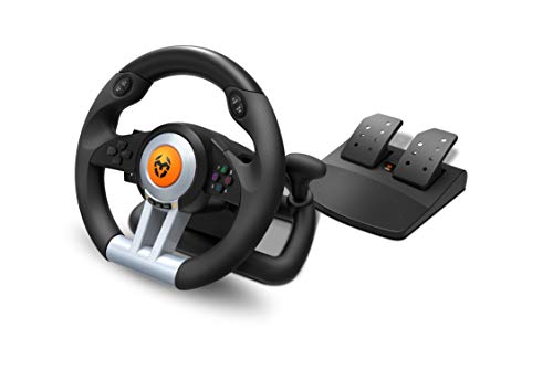 Krom K-WHEEL - NXKROMKWHL - Juego de volante y pedales Multiplataforma, palanca de...