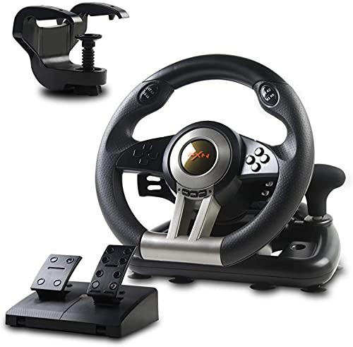 PXN V3II Volante de Juego de Carreras con Pedales Ajustables, 180 ° USB Universal...