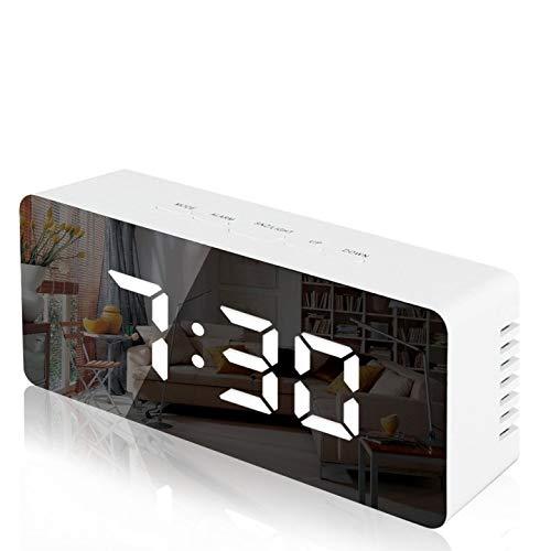 Lambony Reloj Despertador con Espejo Digital con Pantalla LED de Temperatura, Tiempo...