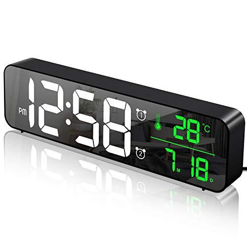 MOSUO Reloj Despertador Digital, Reloj de Pared con Temperatura Tiempo Fecha, 10'...