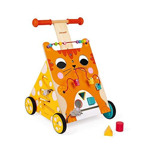 Janod - Caminador multiactividades el gato, caminador evolutivo de madera con freno y...