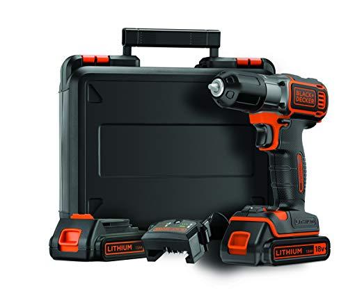 Black+Decker ASD184KB Autosense - Taladradora inalámbrica (18 V, 2 baterías de...
