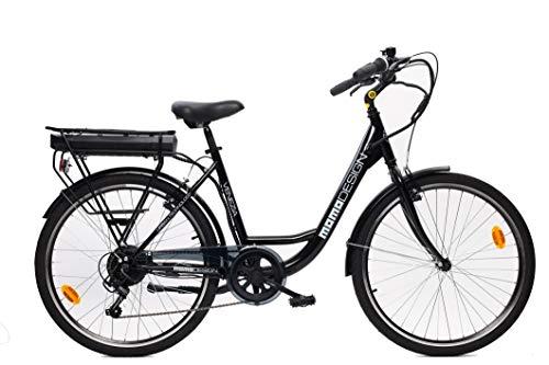 MOMO Design Venezia Bicicleta eléctrica con pedaleo asistido, Unisex Adulto, Negro,...
