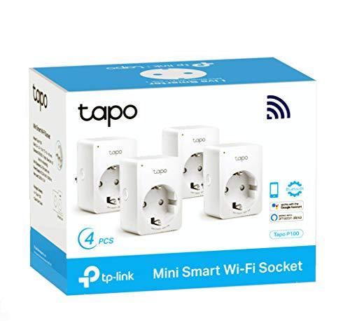 TP-Link Tapo P100 4-pack - WiFi Enchufe Inteligente Mini tamaño para Controlar su...