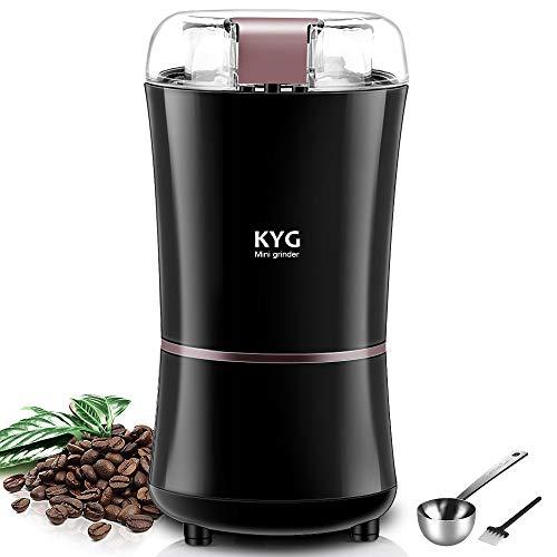 KYG Molinillo de café eléctrico con cuchillas de acero inoxidable 300W