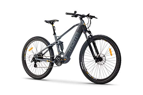 Moma Bikes Bicicleta Eléctrica E-MTB 29' Full Suspension, Shimano 24vel, frenos...