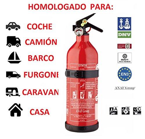 anafgroup EXTINTOR 1 K G ABC HOMOLOGADO para Coche Moto Barco Cocina CASA Caravana DE...