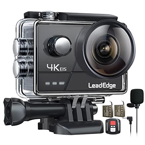 LeadEdge Cámara Deportiva 4K 20MP EIS Anti-Vibración Micrófono Externo con Control...
