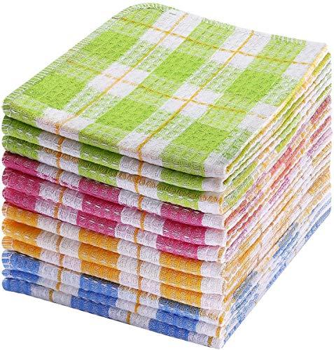 Dudu Cream 100% algodón toallas de té, 12 piezas de 35 cm x 40 cm, toallas de...